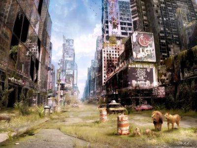 Мир без человечества (Таймс-сквер). Картина В.Манюхина: yarcube.ru