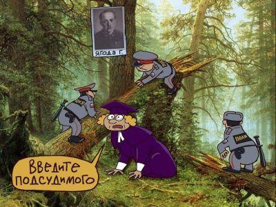 """Суд """"на пеньках"""". Карикатура С.Елкина: newprospect.ru"""